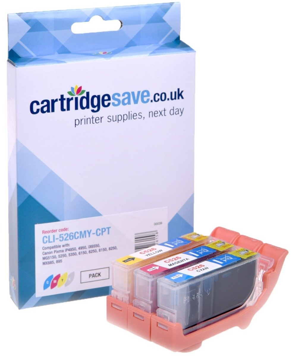 Compatible 3 Colour Canon CLI-526 Ink Cartridge Multipack - (Replaces Canon CLI-526C/M/Y)