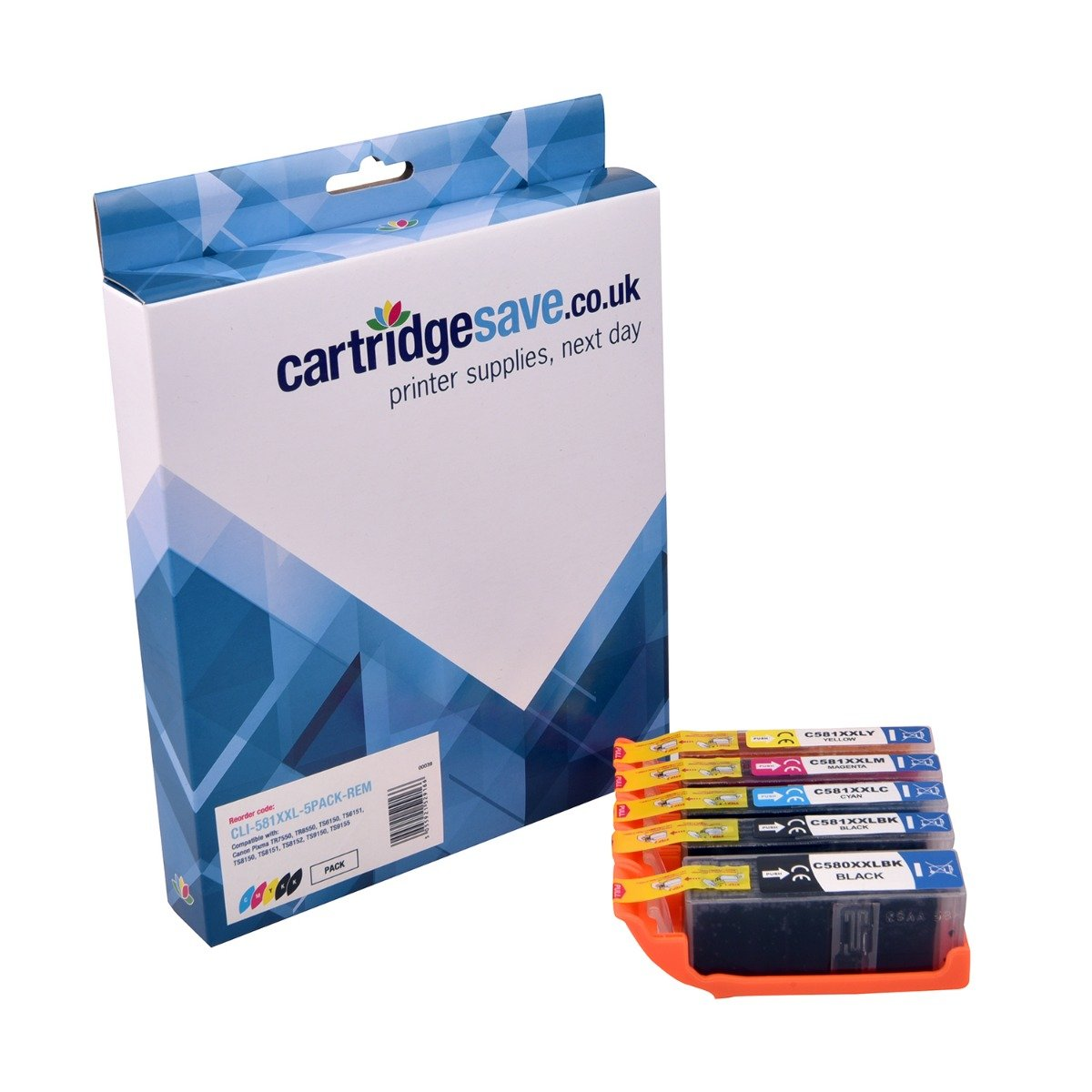 Compatible High Capacity 5 Colour Canon CLI-581XXL Ink Cartridge Multipack - (Replaces CLI-581XXLBK/C/M/Y & PGI-580PGBKXXL)