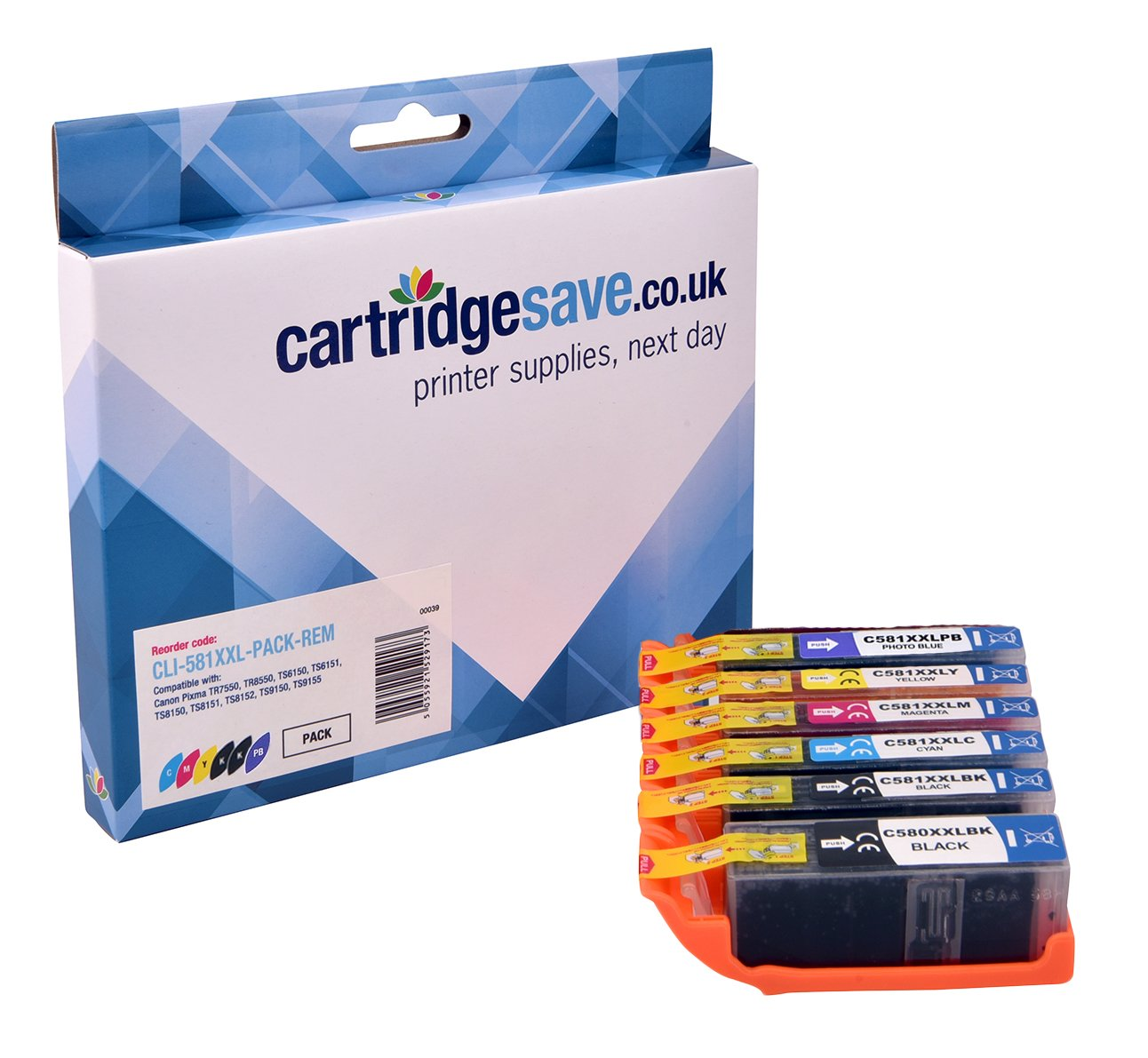 Compatible Extra High Capacity 6 Colour Canon CLI-581XXL Ink Cartridge Multipack - (Replaces CLI-581XXLBK/C/M/Y/PB & PGI-580PGBKXXL)