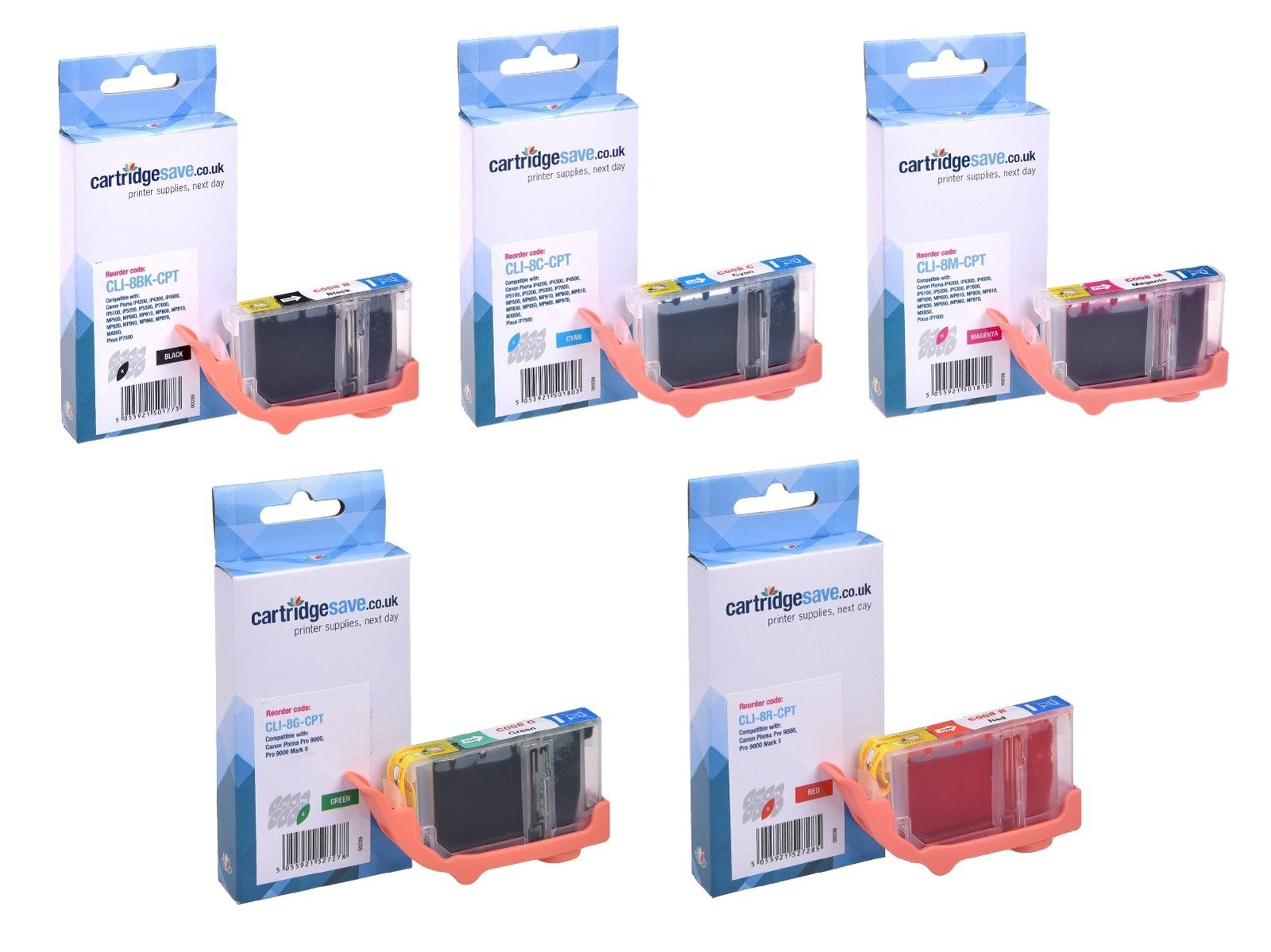 Compatible 5 Colour Canon CLI-8 Ink Cartridge Multipack (CLI-8BK/PC/PM/R/G)