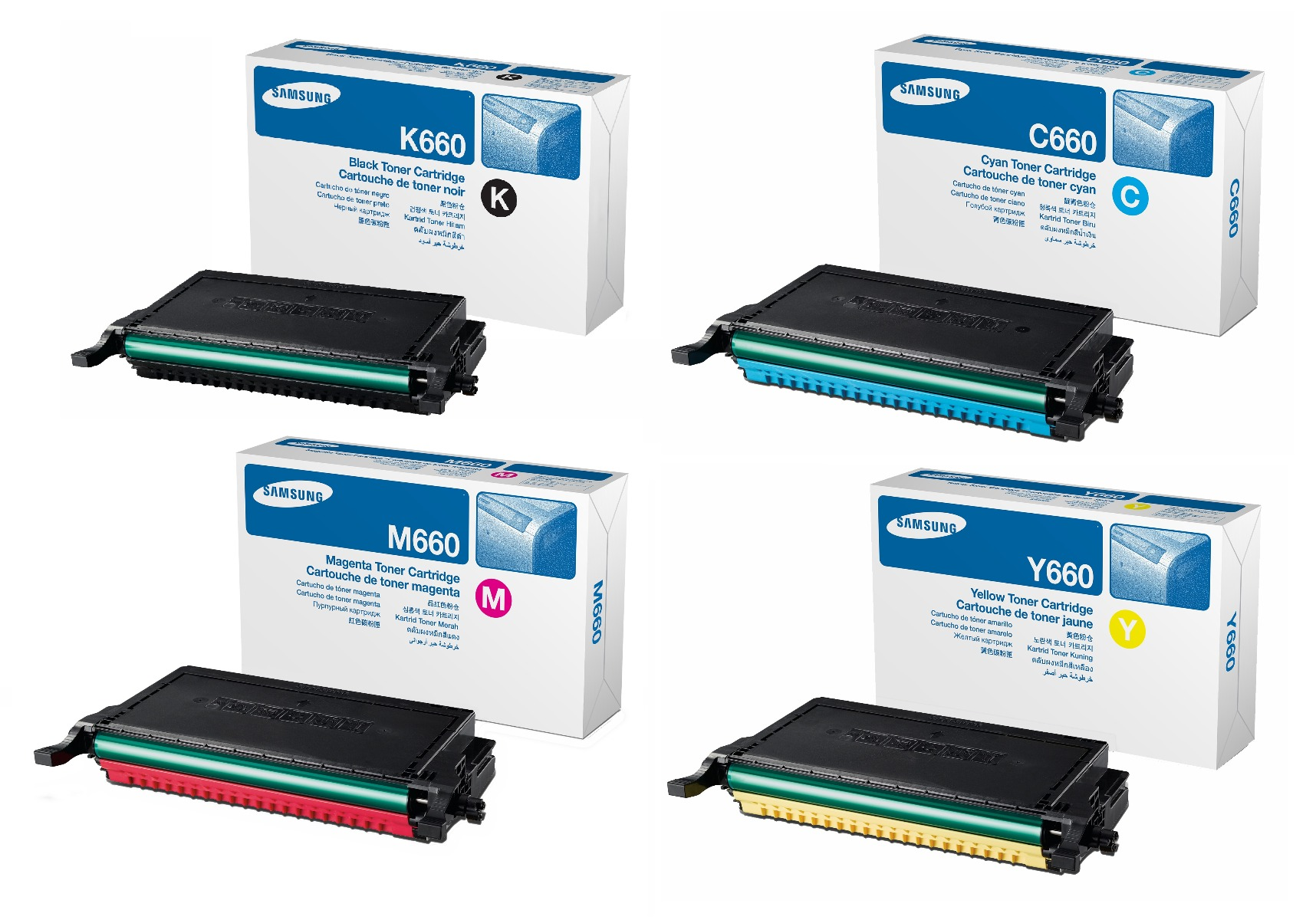 Genuine High Capacity 4 Colour Samsung CLP-660B Toner Cartridge Multipack (CLP-K660B/C660B/M660B/Y660B)