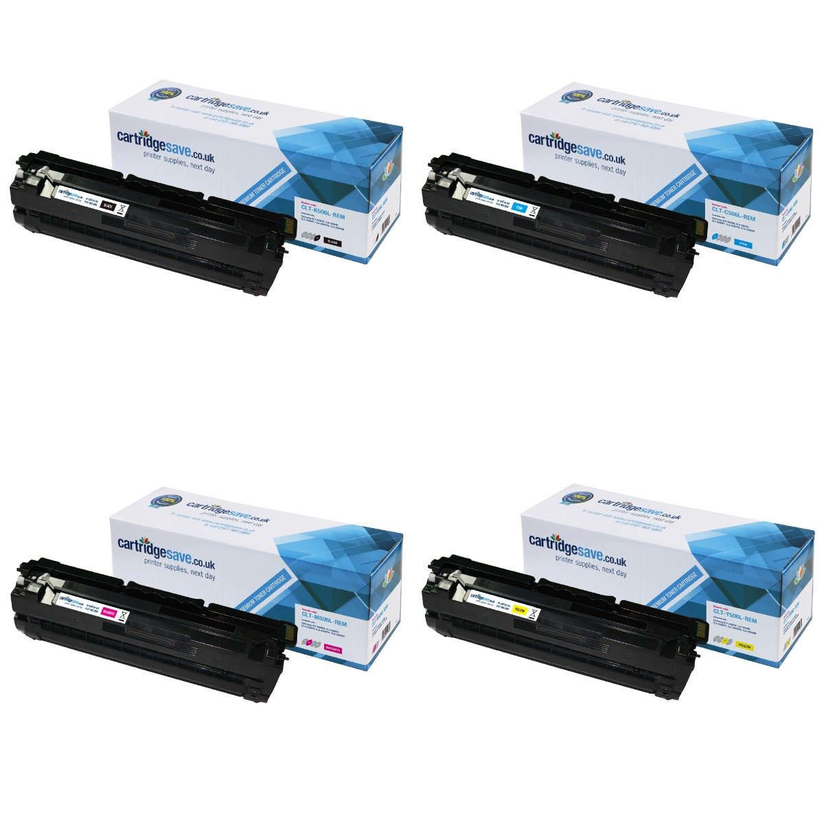 Compatible High Capacity 4 Colour Samsung 506 Toner Cartridge Multipack (CLT-K506L/C506L/M506L/Y506L)