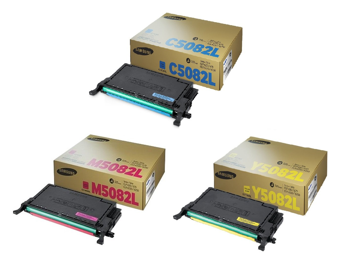 Genuine High Capacity 3 Colour Samsung 5082L Toner Cartridge Multipack (CLT-C5082L/M5082L/Y5082L)
