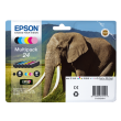 Genuine 6 Colour Epson 24 Ink Cartridge Multipack - (T2428 Elephant Inkjet Printer Cartridges)