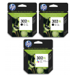 Genuine High Capacity 2 x Black & Tri-Colour HP 302XL Ink Cartridge Multipack - (2 x F6U68AE & 1 x F6U67AE)