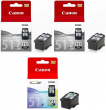 Genuine High Capacity 2 x Black & 1 x Tri-Colour Canon PG-512 / CL-513 Ink Cartridge Multipack - (2 x 2969B001AA & 1 x 2971B001AA)