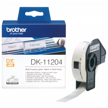 Brother DK-11204 400 x Black On White 17mm x 54mm Adhesive Multi Purpose Labels Paper