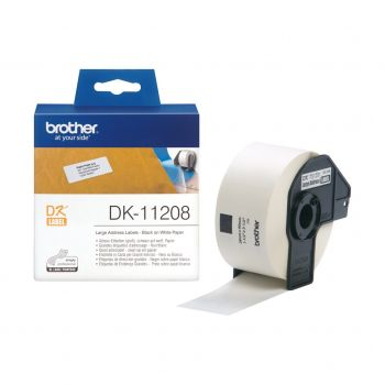 Brother DK-11208 400 x Black On White 38mm x 90mm Adhesive Multi Purpose Labels Paper