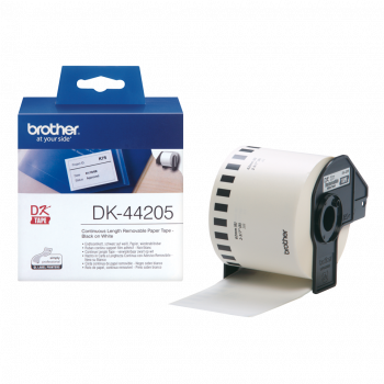 Brother DK-44205 Black On White 62mm x 30.48m Continuous Paper Tape Adhesive Paper