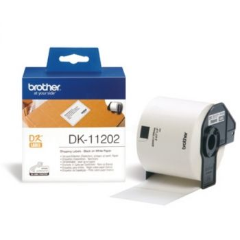 Brother DK11202 300 x Black on White DK-11202 62mm x 100mm Adhesive Shipping Labels