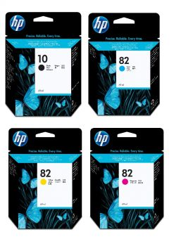 HP 10 / HP 82 4 Colour Ink Cartridge Multipack - (C4844AE/C4911A/C4912A/C4913A)