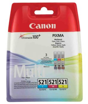 Canon CLI-521 Multipack 3-Colour Ink Cartridge - (2934B007AA)