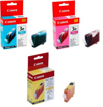 Canon BCI-3e Cyan/Magenta/Yellow 3 Pack Ink Cartridge - Multi-Pack (4480A262)