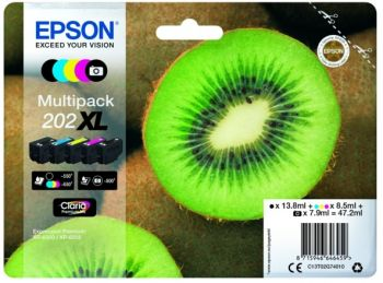 Epson 202XL 5 Colour High Capacity Ink Cartridge Multipack - (T02G7 Kiwi)