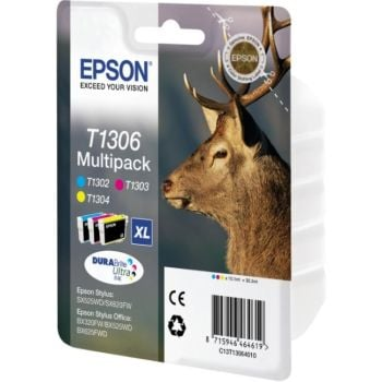 Epson T1306 Extra High Capacity 3 Colour Ink Cartridge Multipack - (T1306 Stag)
