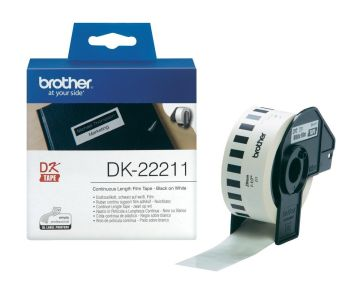 Brother DK-22211 Black On White 29mm x 15.24m Permanent Adhesive Continuous White Film Tape