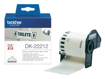 Brother DK-22212 Black On White 62mm x 15.24m Permanent Adhesive Continuous White Film Tape