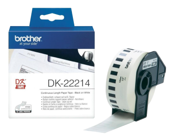 Brother DK-22214 Black On White 12mm x 30.48m Strong Adhesive Continuous Tape Paper