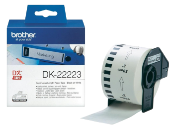 Brother DK-22223 Black On White 50mm x 30.48m Strong Adhesive Continuous Tape Paper