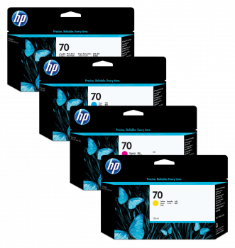 HP 70 4 Colour Ink Cartridge Multipack - (C9449A/C9452A/C9453A/C9454A)