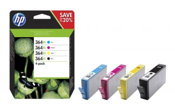 HP 364XL 4 Colour Ink Cartridge Multipack (N9J74AE)