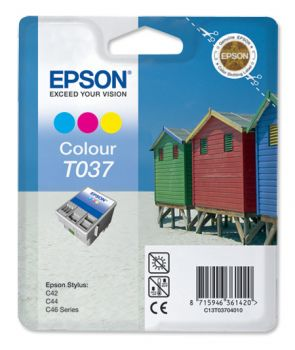 Epson T037 Tri-Colour Ink Cartridge - (C13T03704010 Beach Huts)