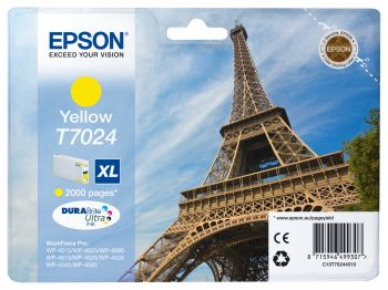 Epson T7024 XL High Capacity Yellow Ink Cartridge - (T7024 Eiffel Tower)
