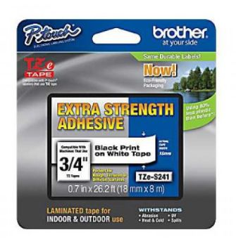 Brother TZe-S241 Black On White Strong Adhesive Laminated P-Touch Labelling Tape 18mm x 8m