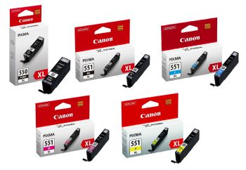 Canon PGI-550XL / CLI-551XL High Capacity 2 x Black & 3 x Colour Ink Cartridge Multipack