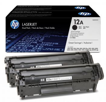 HP 12A Black Toner Cartridge Twin Pack - (Q2612AD)