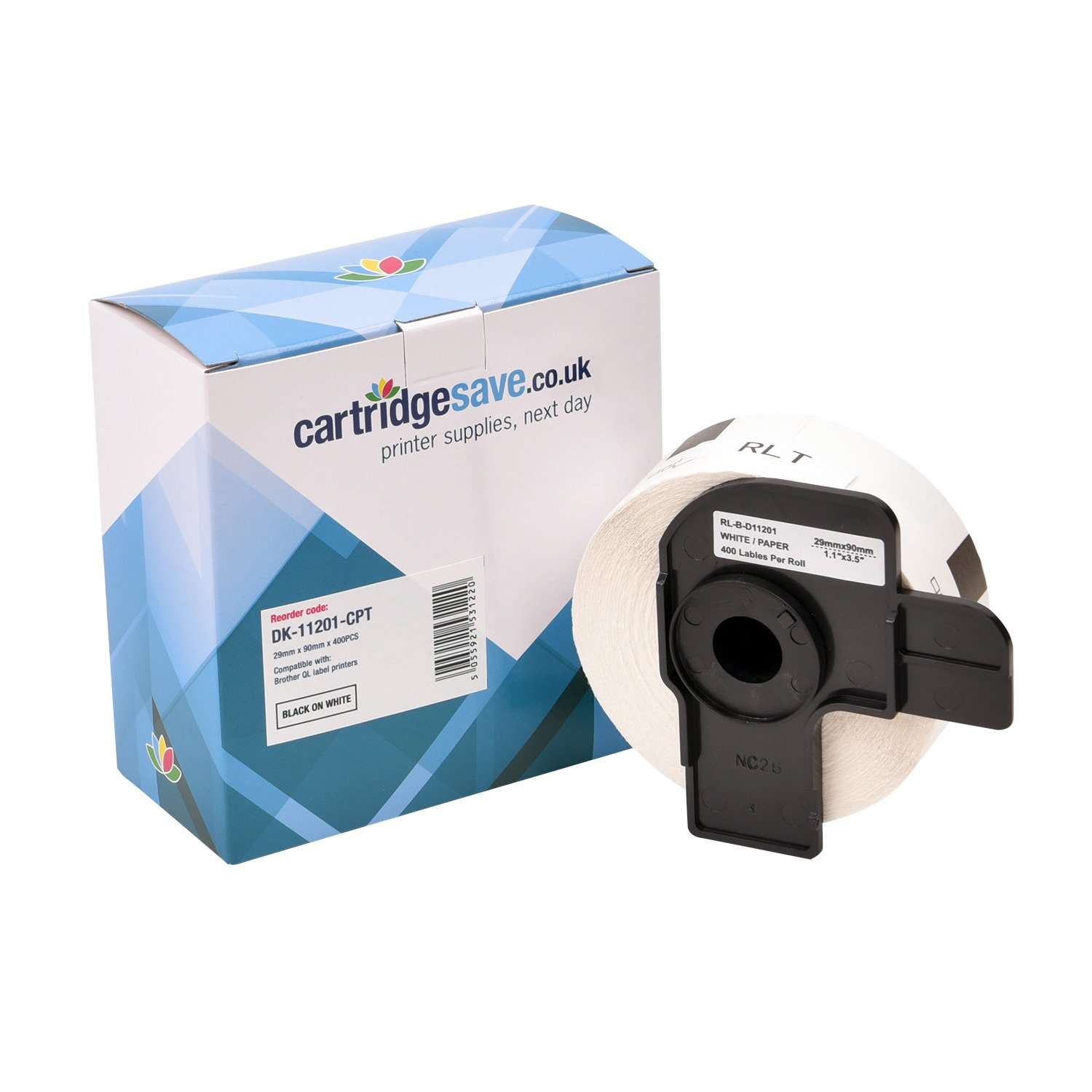Compatible Brother Black On White DK-11201 29mm x 90mm Label Tape (DK11201 Tape)