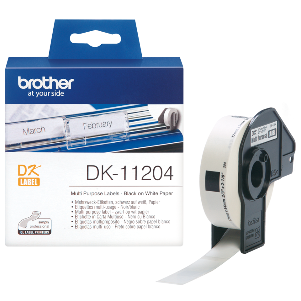 Genuine Brother 400 x Black On White DK-11204 17mm x 54mm Multi Purpose Labels Paper (DK11204 Tape)