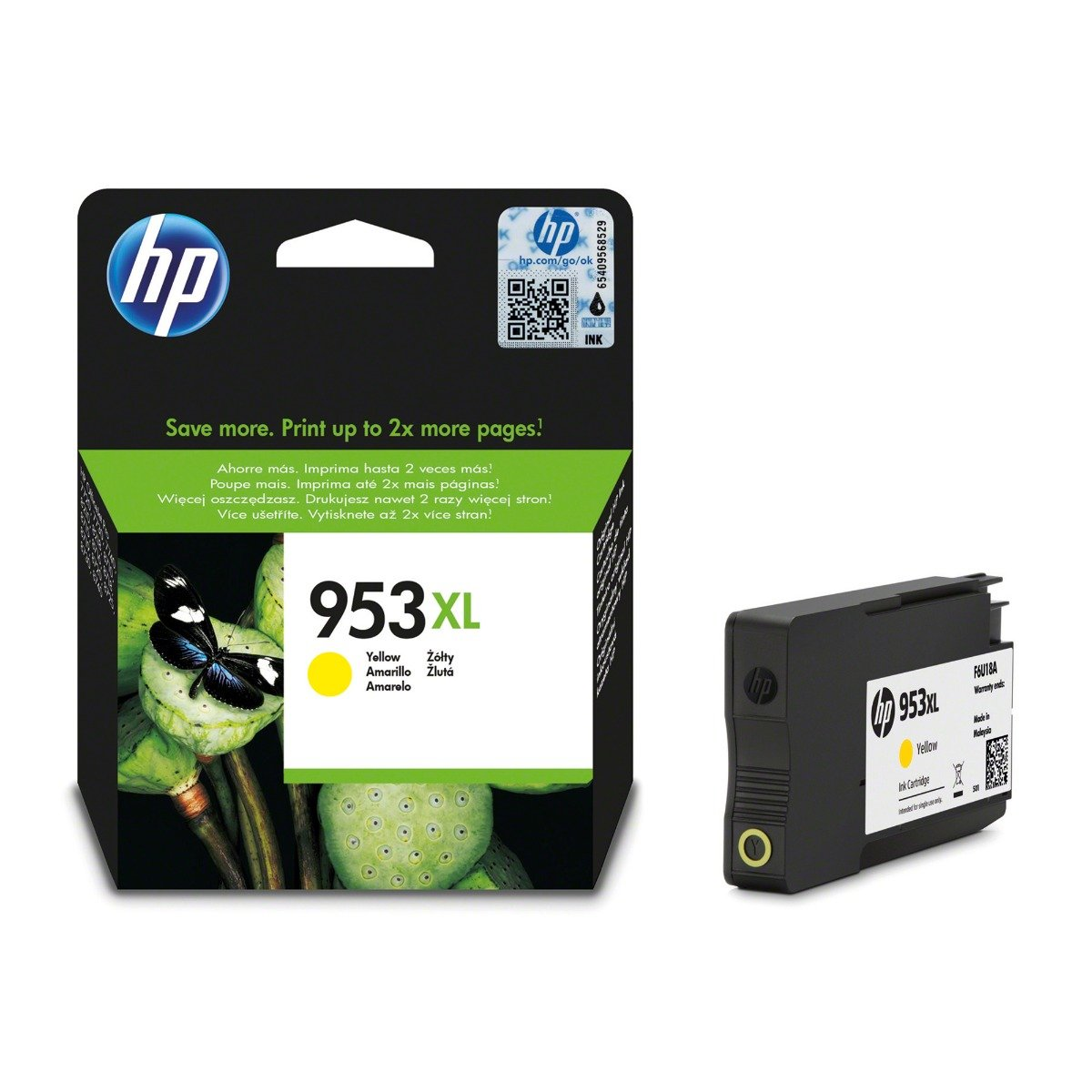 Genuine High Capacity Yellow HP 953XL Ink Cartridge - (F6U18AE)