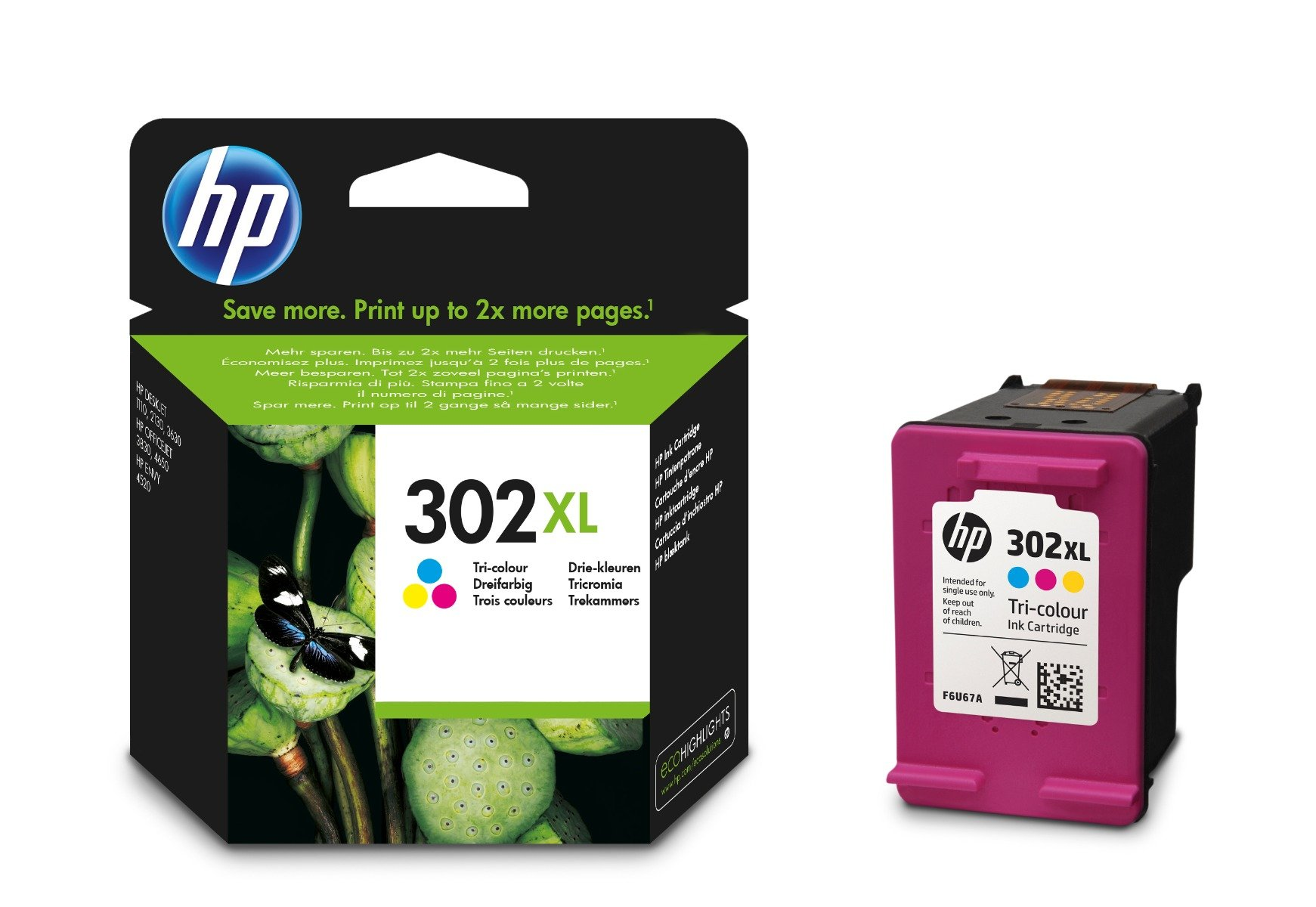 Genuine High Capacity Tri-Colour HP 302XL Ink Cartridge - (F6U67AE)