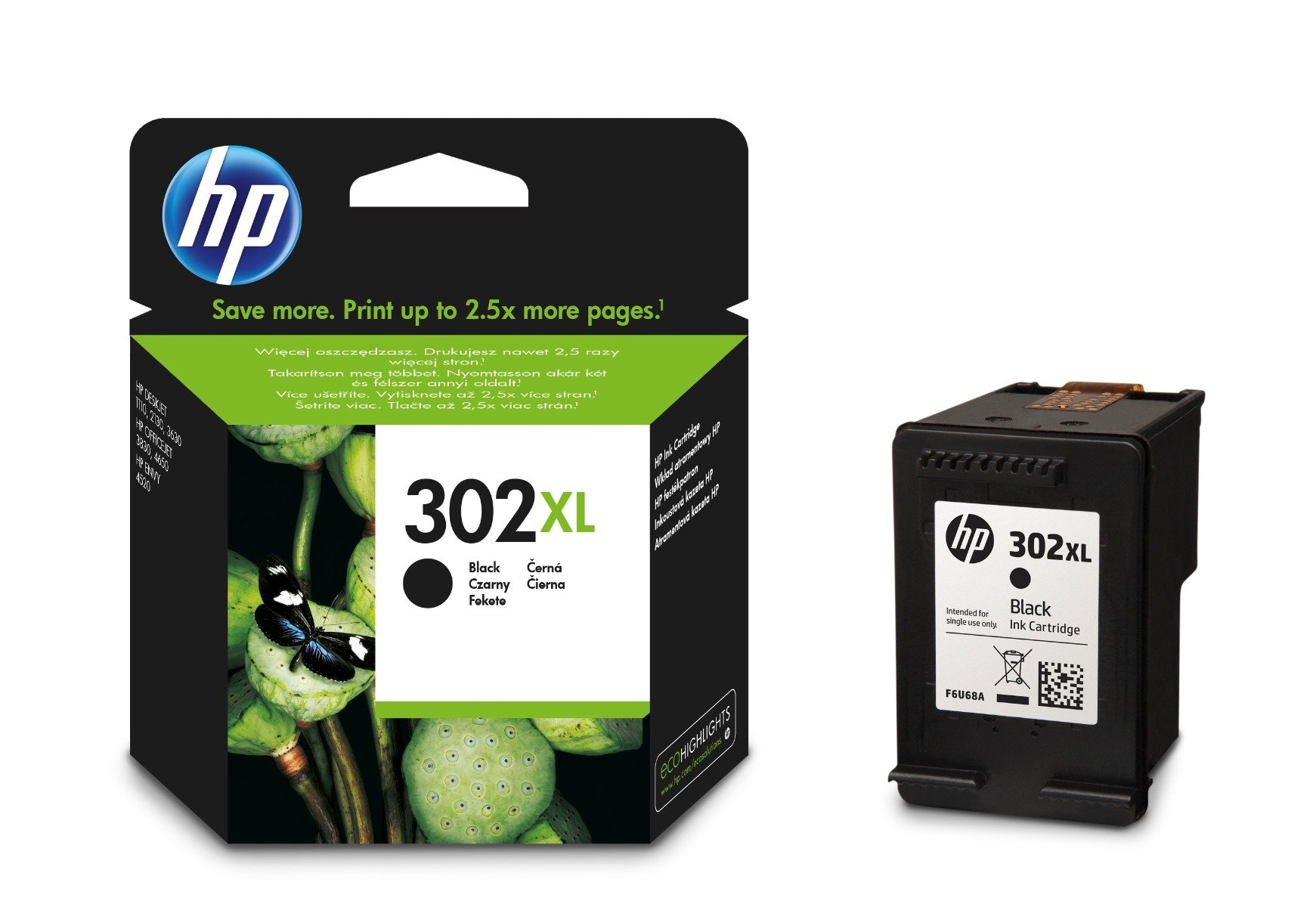Genuine High Capacity Black HP 302XL Ink Cartridge - (F6U68AE)