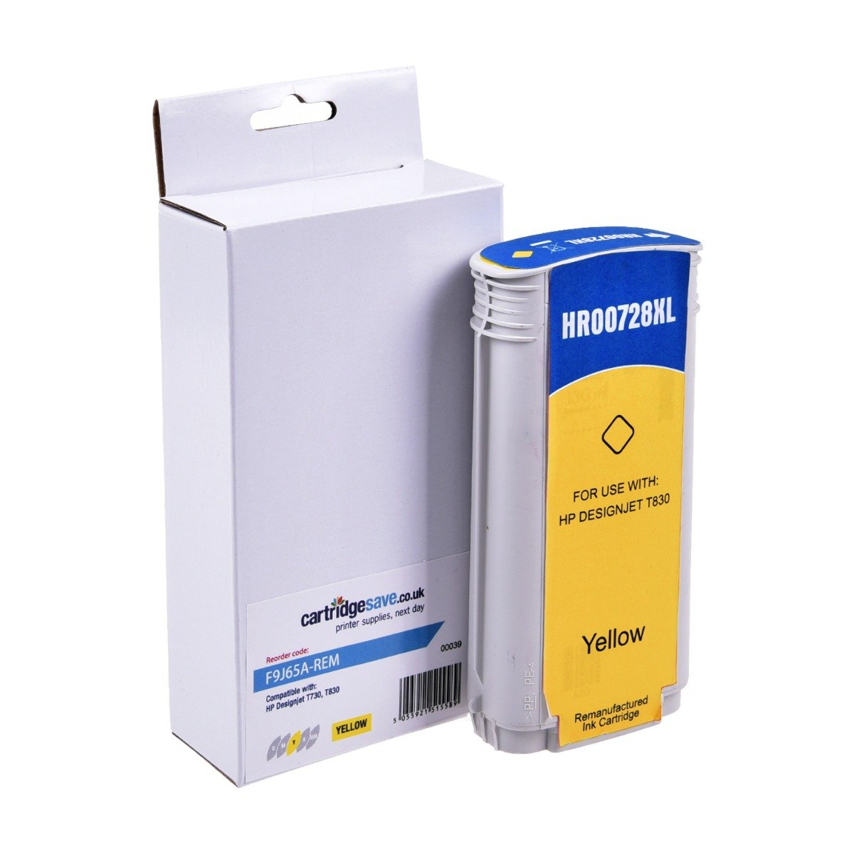 Compatible Yellow High Capacity HP 728 Ink Cartridge - (F9J65A)