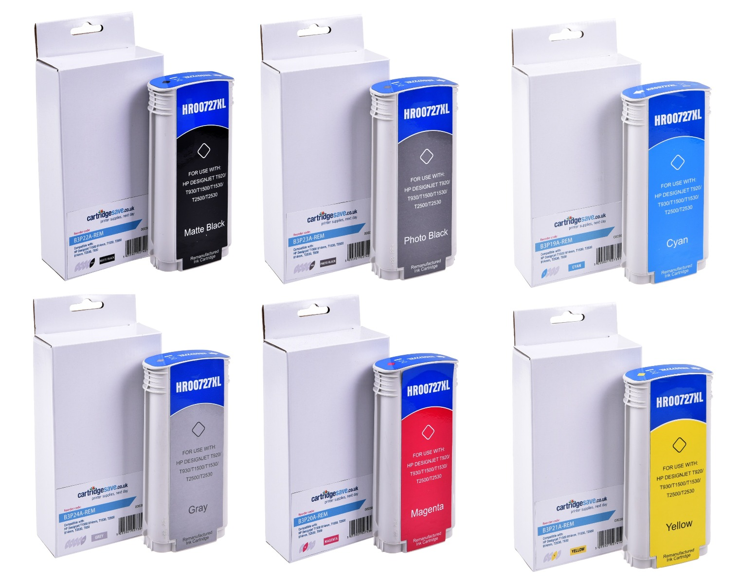 Compatible High Capacity HP 727 6 Colour Ink Cartridge Multipack - (B3P19A/B3P20A/B3P21A/B3P22A /B3P23A/B3P24A)