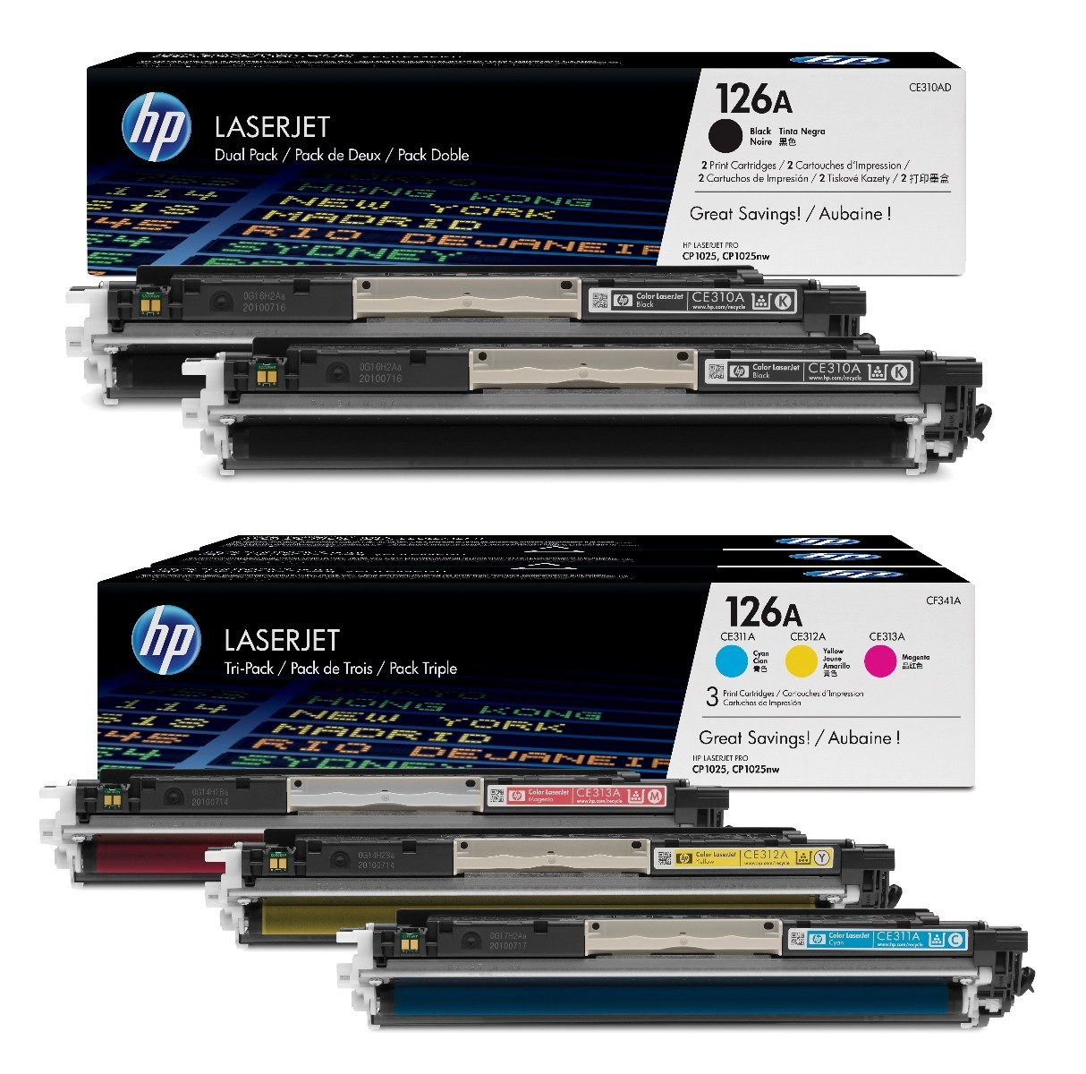 Genuine 5 Colour HP 126A Toner Cartridge Multipack - (CE310AD & CF341A)