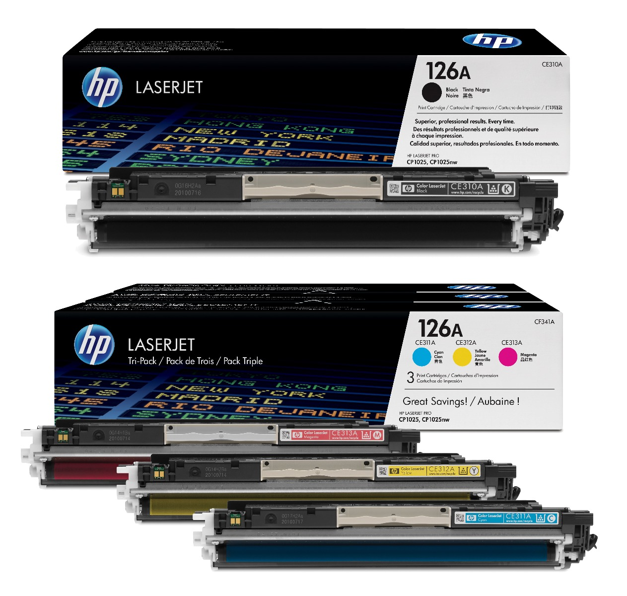 Genuine 4 Colour HP 126A Toner Cartridge Multipack - (CE310A & CF341A)