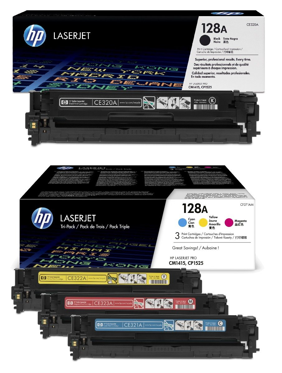 Genuine 4 Colour HP 128A Toner Cartridge Multipack - (CE320A & CF371AM)