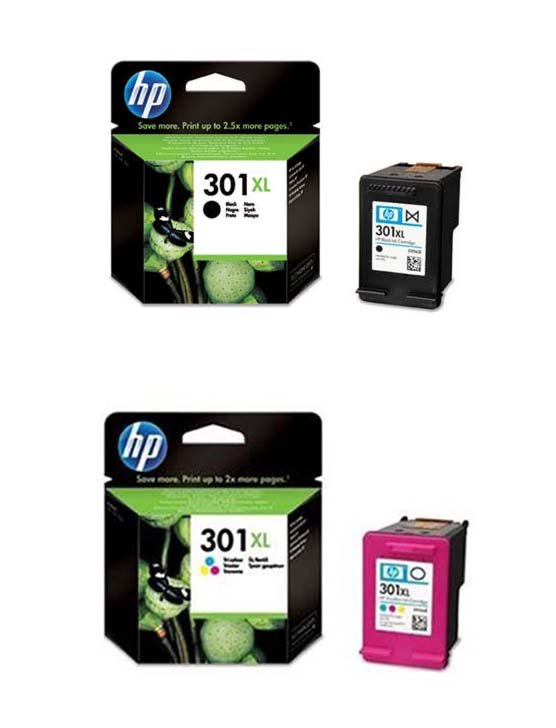 Genuine High Capacity Black & Tri-Colour HP 301XL Ink Cartridge Multipack - (CH563EE & CH564EE)