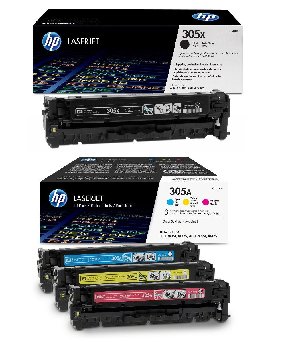 Genuine 4 Colour HP 305X / HP 305A Toner Cartridge Multipack - (CE410X & CF370AM)