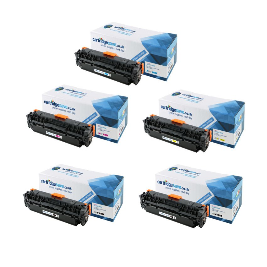 Compatible 5 Colour HP 312A Toner Cartridge Multipack - (2 x CF380X/CF381A/CF382A/CF383A)
