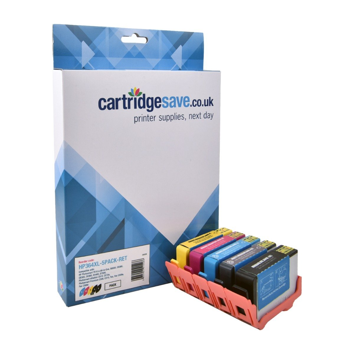 Compatible High Capacity 2 Black & 3 Colour HP 364XL Ink Cartridge Multipack - (CN684EE/CB322/3/4/5EE)