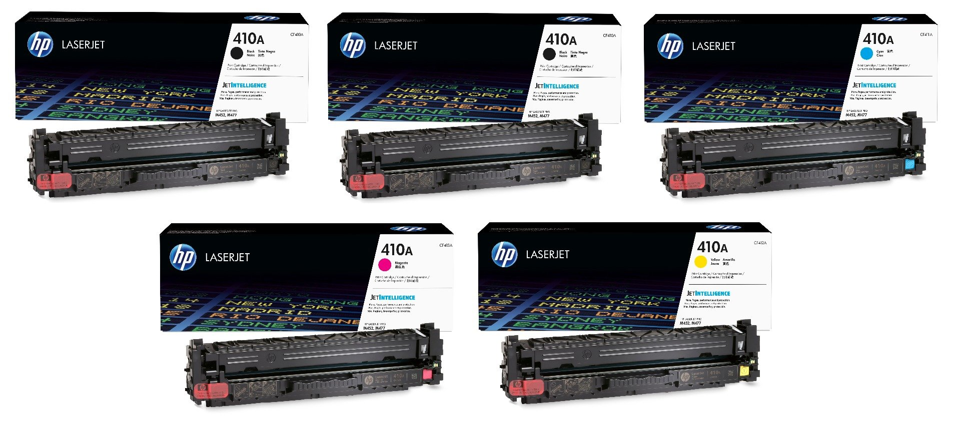 Genuine 5 Colour HP 410A Toner Cartridge Multipack - (2 x CF410A/CF411A/CF412A/CF413A)