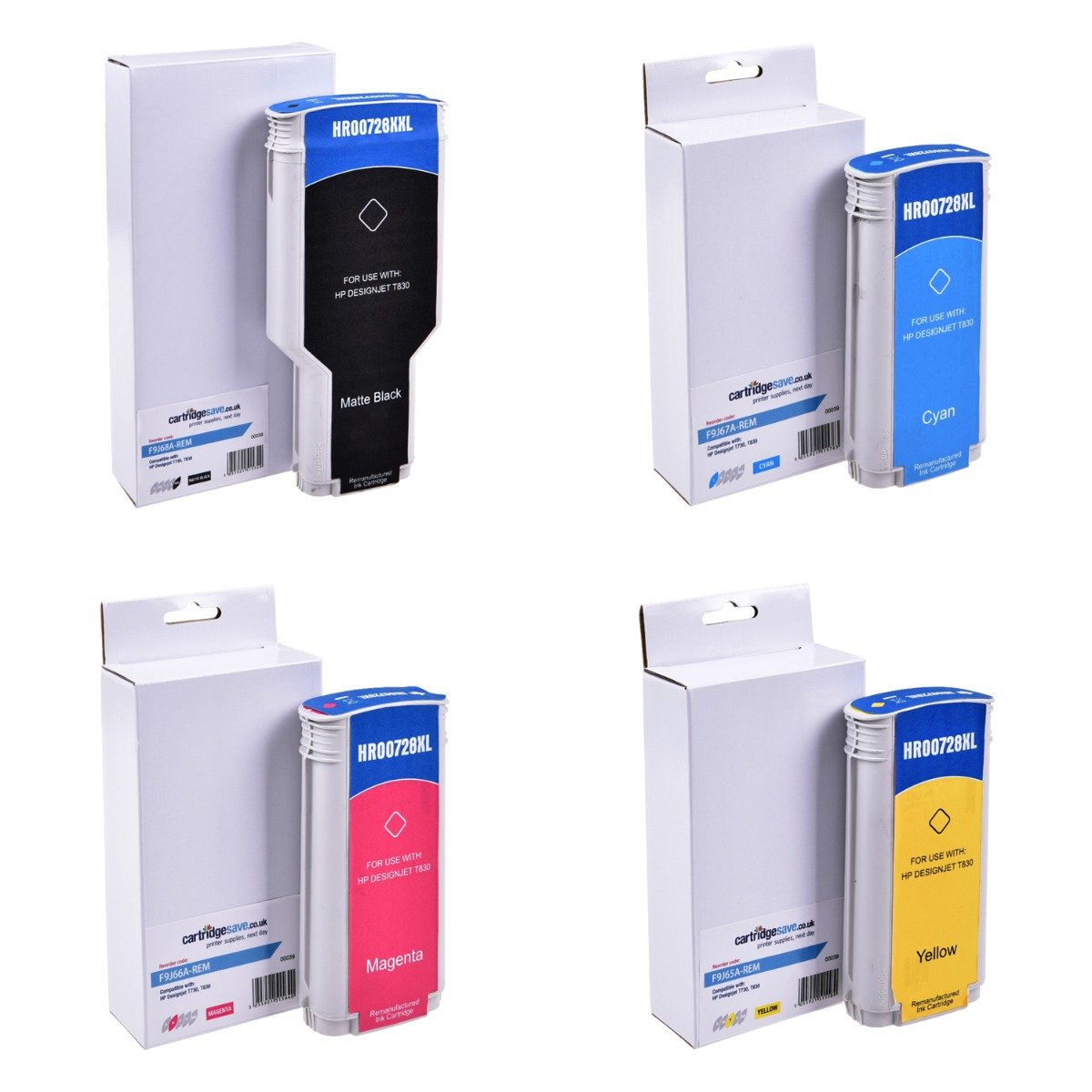Compatible 4 Colour High Capacity HP 728 Ink Cartridge Multipack - (F9J65A/F9J66A/F9J67A/F9J68A)