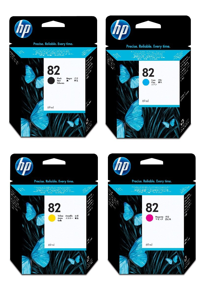 Genuine High Capacity 4 Colour HP 82 Ink Cartridge Multipack - (CH565A/C4911A/C4912A/C4913A)