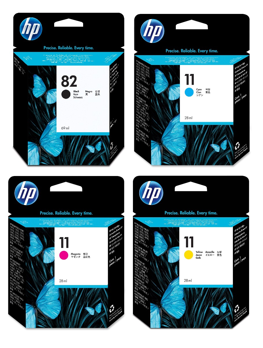 Genuine 4 Colour HP 82 / HP 11 Ink Cartridge Multipack - (CH565A/C4836AE/C4837AE/C4838AE)