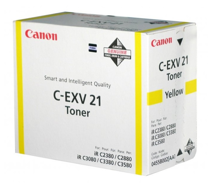 Genuine Canon C-EXV21 Yellow Toner Cartridge (0455B002AA Laser Toner Cartridge)