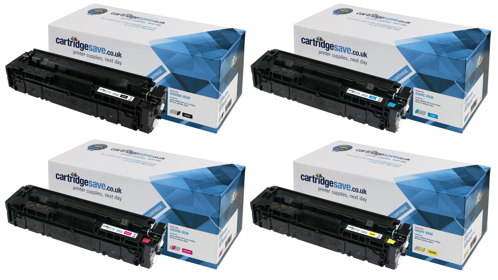 Compatible High Capacity 4 Colour Canon 045H Toner Cartridge Multipack (045H BK/C/M/Y)